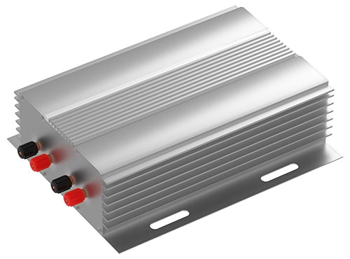 Extruded aluminum power supply housing rendering