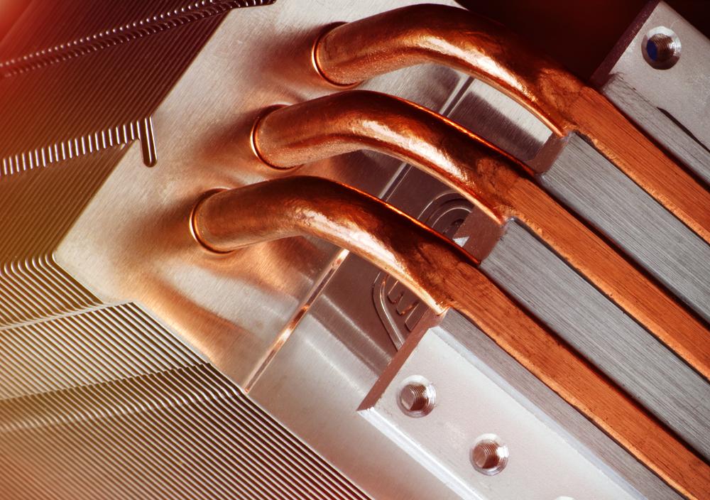 Close up of custom heat pipe bending